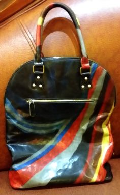 Bag by hand painted colour effects in ECO GOAT leather, colour bright, art sensation.....