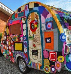 Yarn bombed Trailer.............. #Textiles #Upcycle #Recycle #DIY #GreenLiving #Handmade #DIY #Craft #Reuse #Repurpose #Crochet #YarnBombing #Trailer Yarn Bombing, Crochet Art, Crochet Patterns, Guerilla Knitting, Mosaic Knitting, Guerrilla, Fiber Art, Crochet Projects, Lana