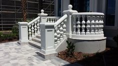 Shop History Stones concrete molds to create your own balusters, columns, benches and more. High quality concrete molds for your home and garden. Front Porch Railings, Front Stairs, Porch Veranda, Porch And Balcony, Exterior Design, Interior And Exterior, Balcony Railing Design, Fence Design, Victorian Porch