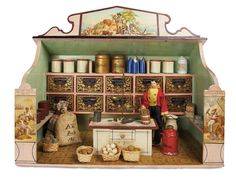 Superb German Wooden Grocery Store by Christian Hacker with Signature 3500/5500