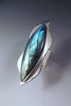 Labradorite Marquise Freeform Hammered Sterling Silver by RedPaw, $159.00