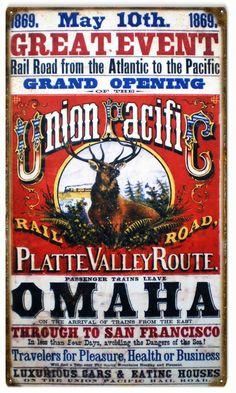 Union Pacific Railroad, Garage Art, Aluminum Metal, American Pickers, Grand Opening, Metal Barn, Metal Signs, Home Decor Wall Art, Vintage Advertisements