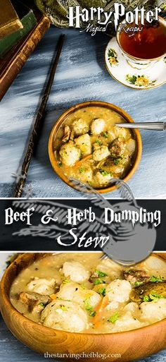 Beef & Herb dumpling stew, inspired by the magical world of Harry Potter. Beef Recipes, Soup Recipes, Dinner Recipes, Cooking Recipes, Recipies, Beef Dumplings, Harry Potter Food, Harry Potter Recipes, Harry Potter Drinks
