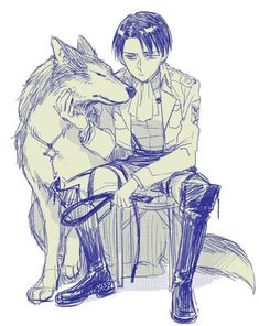 Who is afraid of the wolf? Levi looks so cute beside this big pet ❤️