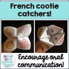 French cootie catchers / fortune tellers! Encourage oral communication through play! Great for French Immersion or Core French students!