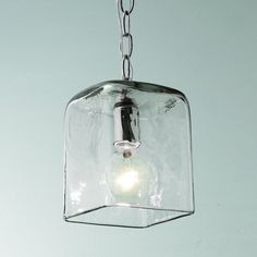 Small Square Glass Pendant Light with Chain
