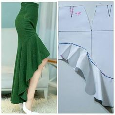 Sewing Ruffles, Skirt Patterns Sewing, Clothing Patterns, Sewing Clothes, Diy Clothes, Costura Fashion, Couture Sewing, Fashion Sewing, Dressmaking