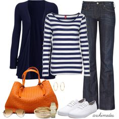 dark jeans, navy/white striped shirt, navy cardigan, orange tote
