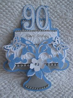 90th Birthday card - This could be used for inspiration in quilling, as well!