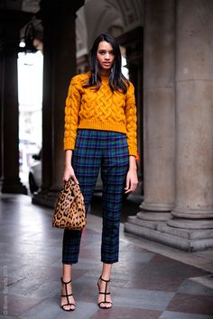 mustard knit & cropped plaid