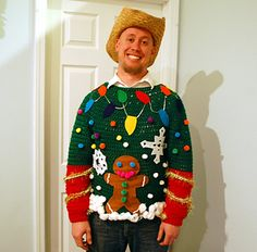 Tacky Christmas Sweater Party-- tons of ideas for food, invites, decor, diy crafts and more! Ugliest Christmas Sweater Ever, Diy Ugly Christmas Sweater, Ugly Sweater Party, Christmas Jumpers, Xmas Sweaters, Christmas Shirts, Sweater Vests, Tacky Christmas Party, Diy Christmas