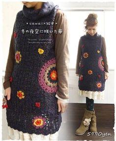 I wish I could crochet. Crochet Tank Tops, Crochet Tunic, Crochet Jacket, Crochet Clothes, Hippie Crochet, Love Crochet, Beautiful Crochet, Crochet Flowers, Crochet World