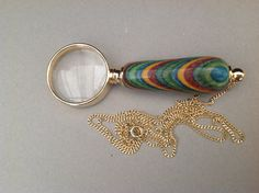 Hand Turned Magnifyer Glass with laminated by Creationsbykandpj, Pen Turning, Neck Chain, Wood Creations, Magnifying Glass, Woodturning, Lathe, Wooden Handles, Little Gifts, Wood Projects
