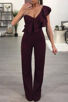 Burgundy Ruffle One Shoulder Party Jumpsuit