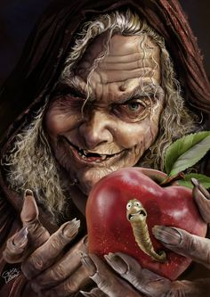 Brothers Grimm - The old witch offering the apple to Snow White... Google Search