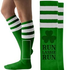 Lassie St Patrick's Day Run | St Patricks Day socks! Get these cool knee high sock for you and your ladies for your drinking bar hop or pub crawl, 5ks, marathons and more! Run LASSIE RUN!
