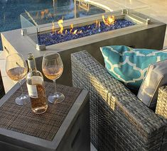 Rectangular Modern Concrete Fire Pit Table