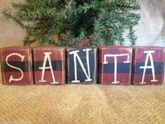 Primitive Country Santa Belt Holiday Christmas Shelf Sitter Cube Wood Block Set  #PrimitiveSantaBlocks
