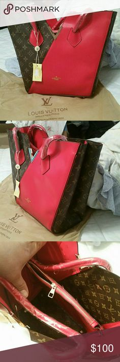 Red Monogram  kimonno New new new....beautiful well made...brown Monogram and RED faux leather... 9Lx11.5Hx5W inches......NEW Bags Shoulder Bags