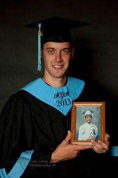 High school holding his kindergarten graduate picture.
