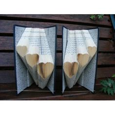 Folded book, Book folding. Two books with trio of hearts in each book. Wedding Anniversary.
