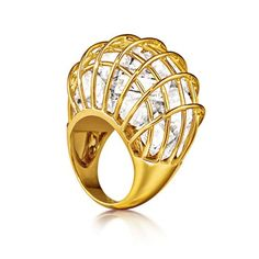 Verdura - Caged Ring -  Rock crystal and 18k yellow gold.