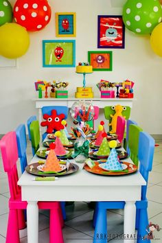 Monsters birthday party theme for boys.. very colorful!!