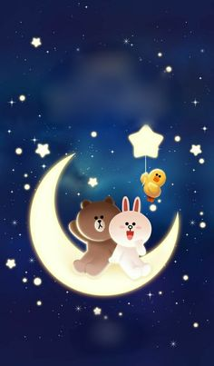 LINE Themes,LINE Stars,LINE,The LINE friends take to the skies in this starry theme! Turn your LINE into your own personal romantic night sky.