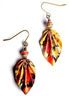 Image of Traveler Leaf Earrings MAKE THESE FROM HEAVY PAPER