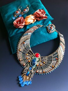 Egyptian Scarab Necklace and Earring Set by LuxVivensFashion