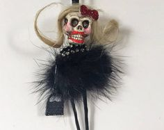 Halloween Day of the Dead Skeleton Hanging Tree Mini Lady Doll Ornament  * Dia de los Muertos*