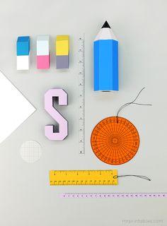 Plantilla imprimible de cajitas en forma de lápiz y etiquetas en forma de reglas >> Back to School printable pencil favor boxes with erasers