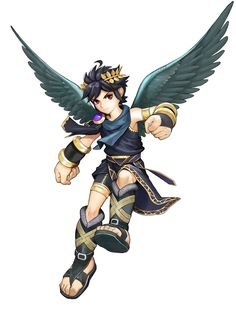 View an image titled 'Dark Pit Art' in our Kid Icarus: Uprising art gallery featuring official character designs, concept art, and promo pictures. Nintendo Characters, Video Game Characters, Super Smash Bros, Monster High Boys, Kid Icarus Uprising, Character Art, Character Design, Avengers, Little Mac