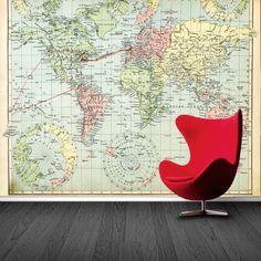 Fotobehang Wereldkaart in kleur | Maak het jezelf eenvoudig en bestel fotobehang voorzien van een lijmlaag bij YouPri om zo gemakkelijk jouw woonruimte een nieuwe stijl te geven. Voor het behangen heb je alleen water nodig!   #behang #fotobehang #print #opdruk #afbeelding #diy #behangen #wereld #kaart #continenten #atlas #wereldkaart #topografie #topo