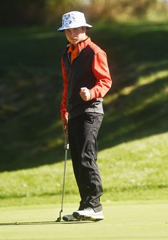 Ames Tyler Wierson reacts after making a putt on the 15th hole at the Class 4A state tournament on Saturday, Oct. 8, 2016 at the Tournament Club of Iowa in Polk City. Photo by Nirmalendu Majumdar/Ames Tribune http://www.amestrib.com/sports/20161008/boys-golf-wierson-takes-32nd-at-state