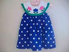 Vintage Little Bitty Toddler Girl Flower Polka Dot by LittleMarin,
