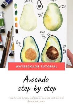 Painting Ideas Easy: Paint an Avocado Tutorial In this watercolor tutorial, you will learn how to paint an avocado with watercolor. Click the image or link above to see the full art tutorial. Watercolor Beginner, Watercolor Paintings For Beginners, Watercolor Art Lessons, Watercolor Drawing, Watercolor Techniques, Easy Paintings, Watercolor Illustration, How To Watercolor, Watercolor Portraits