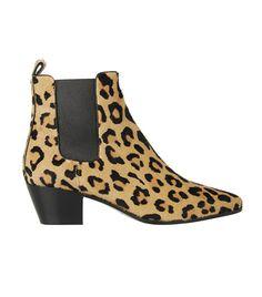 Saint Laurent Leopard-Print Calf Hair Ankle Boots ($1595)
