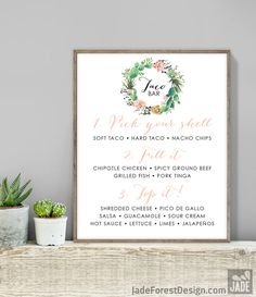 Cactus Taco Bar Sign / Tacos Sign / Cactus Succulent, Coral Flower Wreath, Mexican Fiesta ▷ Printable File {or} Printed & Shipped by JadeForestDesign on Etsy