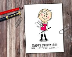 Naughty Stick People Flirty Dirty 30 Card  by PrintThatSign