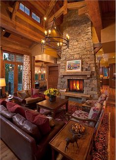 Cozy Country/Rustic Living & Family Room by Lynette Zambon & Carol Merica on HomePortfolio Ideas De Cabina, Log Cabin Homes, Log Cabins, Eclectic Living Room, Cabins And Cottages, Dream Rooms, Dream Bedroom, Cabana, My Dream Home