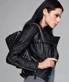 Facotry Women Jacket Real Sheepskin Genuine Leather TOP Brand Slim Short Black Bomber Biker Motorcycle Female Winter Coat ZH049A
