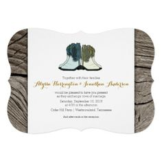 Country Western Rustic Wedding Boots Invitations with original drawing and wood look background.