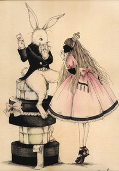 Alice & the White Rabbit. Wait a minute! Her dress is supposed to be blue...