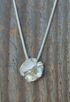 silver flower necklace tiny flower pendant delicate by lynncobb, $135.00