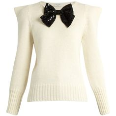 Saint Laurent Bow-embellished peak-shoulder sweater ($1,850) ❤ liked on Polyvore featuring tops, sweaters, cream multi, cream top, embellished sweaters, 80s tops, white sequin sweater and white embellished top