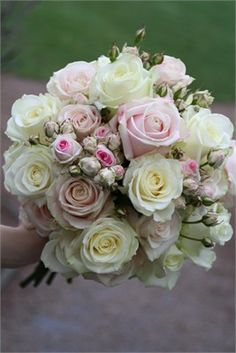 Example pink and cream bouquet - the small pink/cream spray roses are the ones I think would look great as hair flowers. Vintage Wedding Flowers, Bridal Flowers, Floral Wedding, Hair Flowers, Pastel Flowers, Wedding Bride, Bride Bouquets, Bridesmaid Bouquet, Bridesmaids