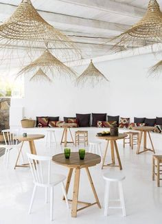 """Sculptural and functional! Love these gorgeous flat weave basket lights at San Giorgio hotel in Mykonos. have some excellent frayed basket lights called the """"Coron"""" series - a perfect substitution for those dreamy beach vibes Decoration Restaurant, Deco Restaurant, Restaurant Design, Luxury Restaurant, Outdoor Restaurant, Mykonos Hotels, Mykonos Greece, Santorini, Commercial Design"""