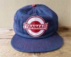 7133775eaa4 Vintage 1980s YANMAR Tractor Farm Equipment Denim Snapback Hat Jean Cap RARE!   BaseballCap Denim