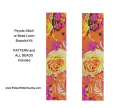 Kit for Peyote Stitch Bracelet or Bead Loom Bracelet - Pattern and all Beads Included - Yellow Pink Orange Flowers